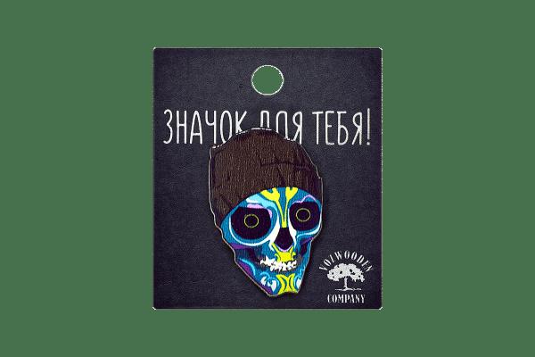 Деревянный значок VozWooden Синий Скелет Фото №1