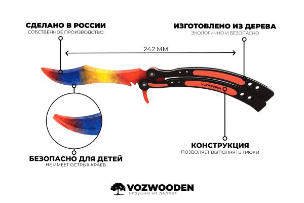 Деревянный нож Бабочка VozWooden Мраморный Градиент (реплика) Фото №6