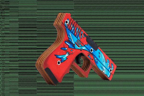 Пистолет VozWooden Glock-18 версия 1.6 Дух Воды (деревянный резинкострел) Фото №1