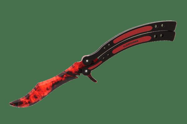 Деревянный нож Бабочка VozWooden Волны Рубин (реплика) Фото №1