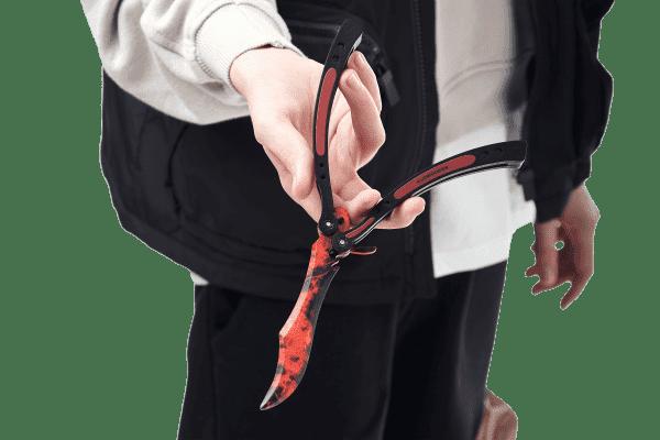 Деревянный нож Бабочка VozWooden Волны Рубин (реплика) Фото №4