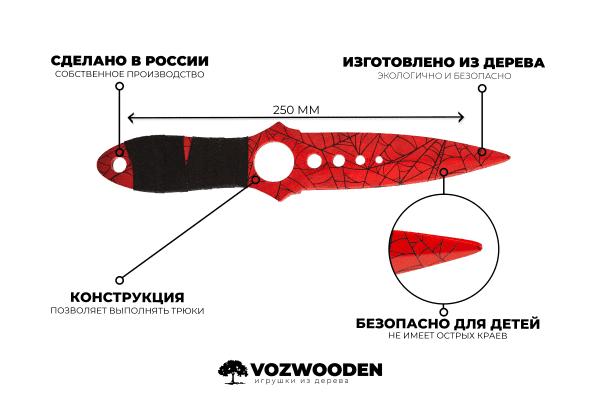Деревянный Скелетный нож VozWooden Кровавая Паутина (реплика) Фото №6