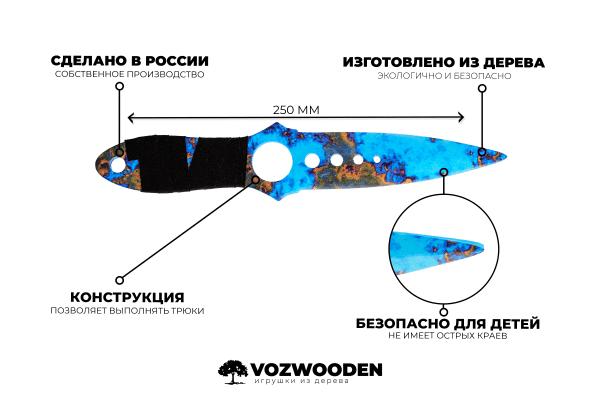 Деревянный Скелетный нож VozWooden Поверхностная Закалка (реплика) Фото №1