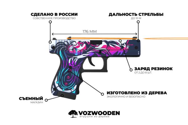Деревянный пистолет VozWooden Active Glock-18 Нео-Нуар (резинкострел) Фото №6