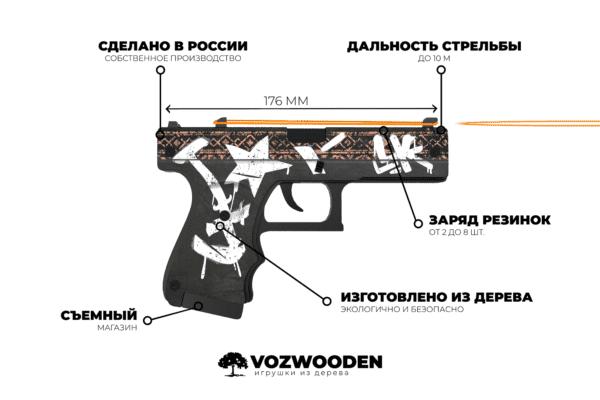 Деревянный пистолет VozWooden Active Glock-18 Пустынный Повстанец (резинкострел) Фото №6
