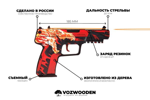 Деревянный пистолет VozWooden Active Five-seveN (FN) Вой (резинкострел) Фото №6
