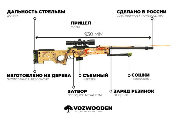 Деревянная снайперская винтовка VozWooden Active AWP История о Драконе (реплика) Фото №1
