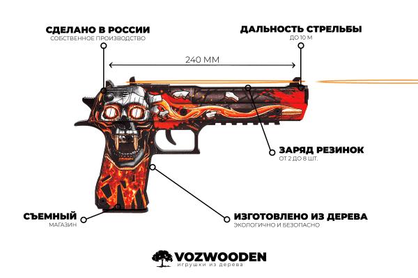 Деревянный пистолет VozWooden Active Desert Eagle Убийство Подтверждено (резинкострел) Фото №6