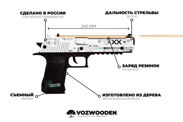 Деревянный пистолет VozWooden Active Desert Eagle Поток Информации (резинкострел) Фото №6