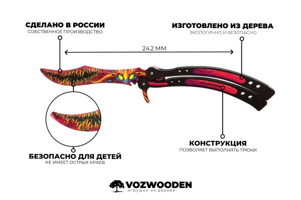 Деревянный нож Бабочка VozWooden Скоростной Зверь (реплика) Фото №6