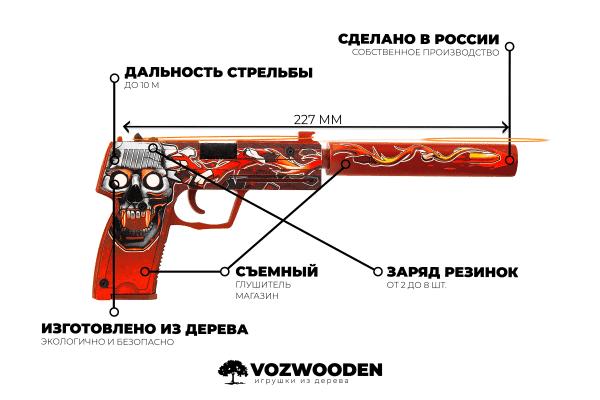 Деревянный пистолет VozWooden Active USP-S Убийство Подтверждено (резинкострел) Фото №1