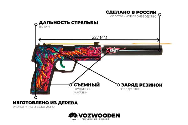 Деревянный пистолет VozWooden Active USP-S Скоростной Зверь (резинкострел) Фото №6