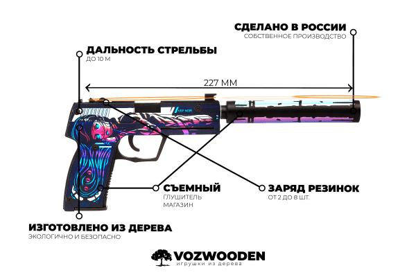 Деревянный пистолет VozWooden Active USP-S Нео-Нуар (резинкострел) Фото №1