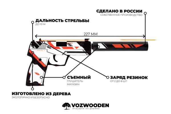 Деревянный пистолет VozWooden Active USP-S Азимов (резинкострел) Фото №6