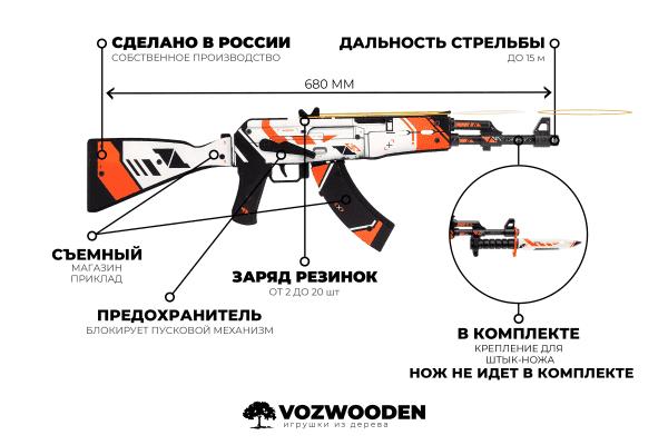 Деревянный автомат VozWooden Active АК-47 Азимов (резинкострел) Фото №7
