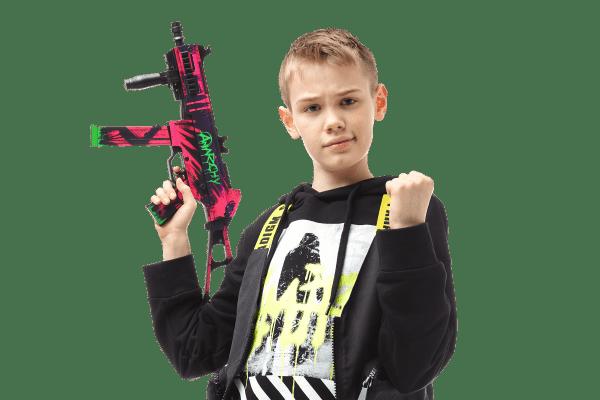 Пистолет-пулемет VozWooden Active UMP-45 Неоновая революция (деревянный резинкострел) Фото №6