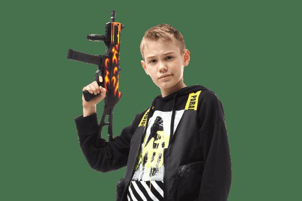 Пистолет-пулемет VozWooden Active UMP-45 Пламя (деревянный резинкострел) Фото №6