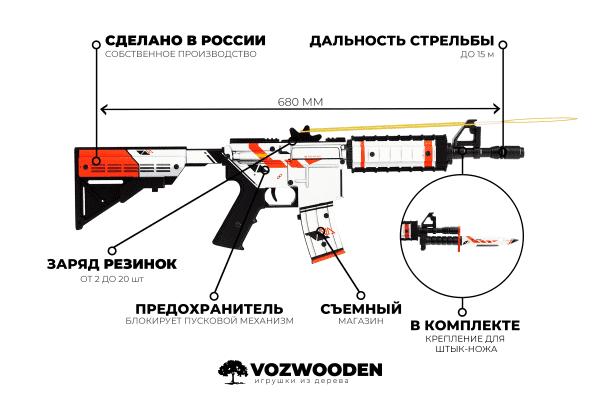 Деревянный автомат VozWooden M4A4 Active Азимов (резинкострел) Фото №7