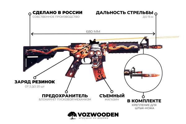 Деревянный автомат VozWooden M4A4 Active Убийство Подтверждено (резинкострел) Фото №7