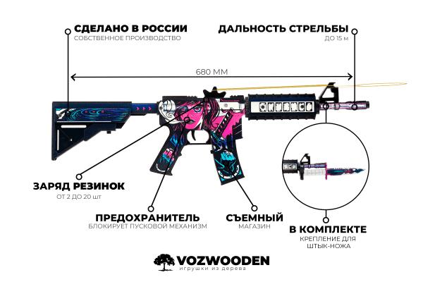 Деревянный автомат VozWooden M4A4 Active Нео-Нуар (резинкострел) Фото №7