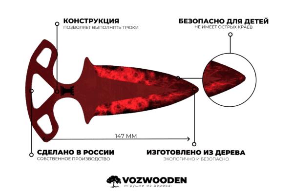 Деревянные Тычковые ножи VozWooden Волны Рубин (реплика) Фото №5