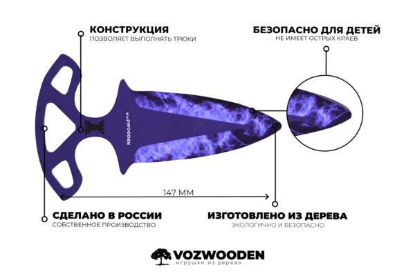 Деревянные Тычковые ножи VozWooden Волны Сапфир (реплика) Фото №5