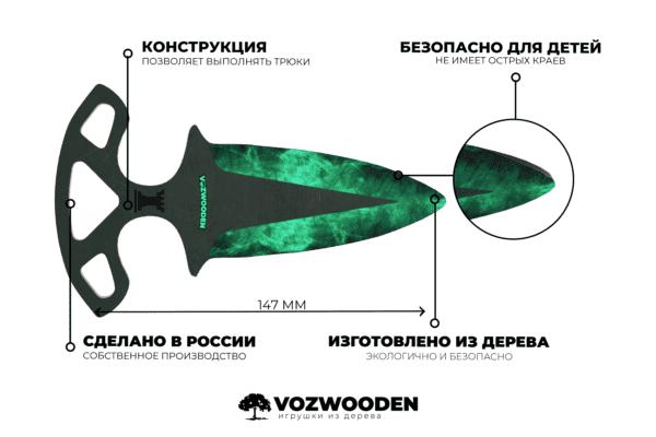 Деревянные Тычковые ножи VozWooden Волны Изумруд (реплика) Фото №5