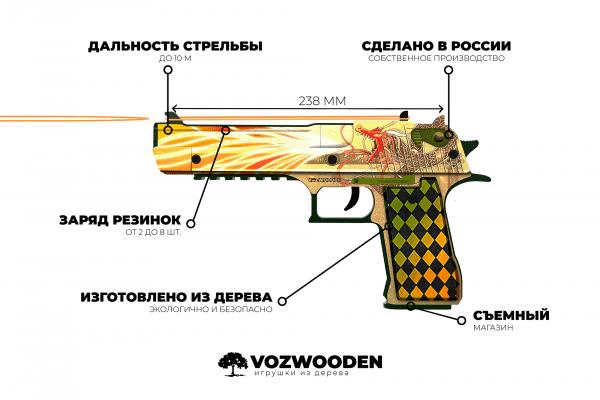 Деревянный пистолет VozWooden Active Desert Eagle История о Драконе (резинкострел) Фото №4