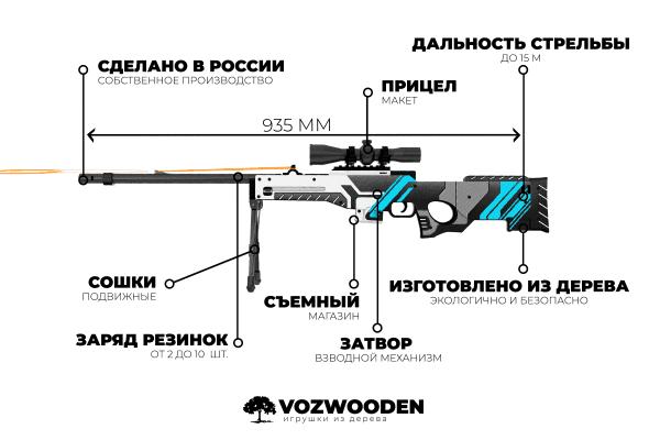 Деревянная снайперская винтовка VozWooden Active AWP Вулкан (реплика) Фото №4
