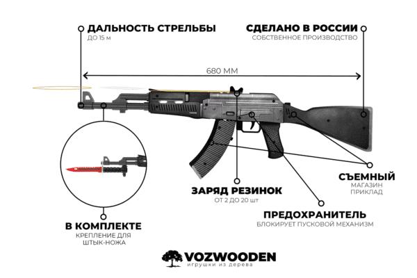 Деревянный автомат VozWooden Active АК-47 Сланец (резинкострел) Фото №4