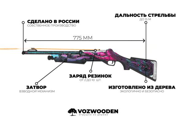 Деревянный дробовик VozWooden Nova Active Нео-Нуар (резинкострел) Фото №4