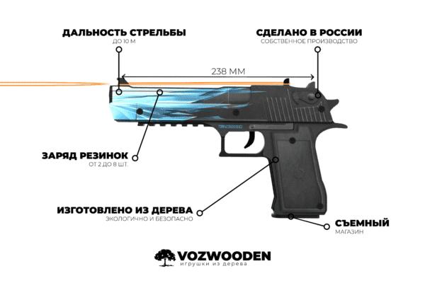 Деревянный пистолет VozWooden Active Desert Eagle Драгон Гласс (Стандофф 2 реплика) Фото №4