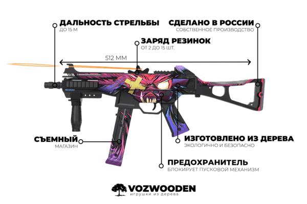 Деревянный пистолет-пулемет VozWooden Active UMP-45 Зверь (Стандофф 2 реплика) Фото №4