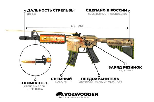 Деревянный автомат VozWooden M4A4 Active История о Драконе (резинкострел) Фото №5