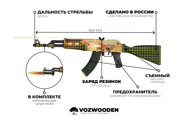 Деревянный автомат VozWooden Active АК-47 История о Драконе (резинкострел) Фото №5