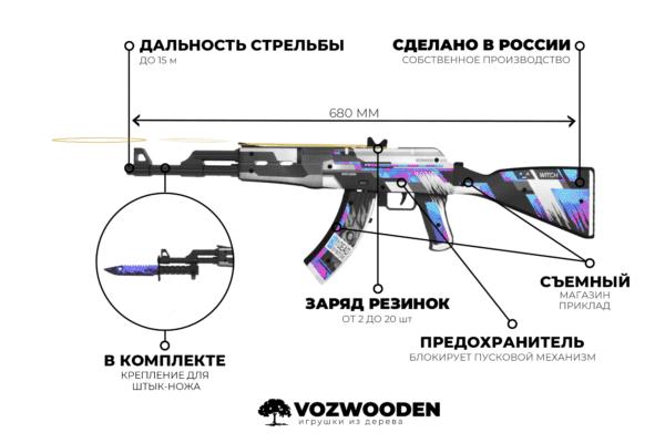 Деревянный автомат VozWooden Active АК-47 / AKR Некромант (Стандофф 2 реплика) Фото №5